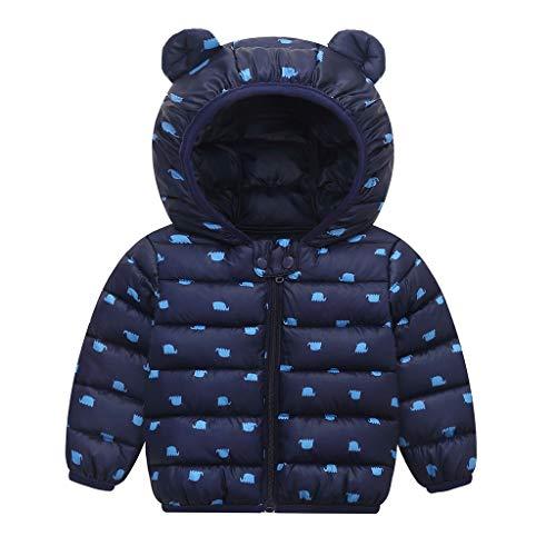 LEXUPE Baby Winter Fleece Overall Mit Kapuze Mädchen Jungen Schneeanzüge Warm Strampler Outfits 0-12 Monate(C-Blau,80)