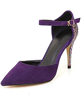Donna Sexy Caviglia Cinghia Stiletto alto Tacchi sandali Chiuso appuntito Dito del piede pompe Lavoro Inteligente...