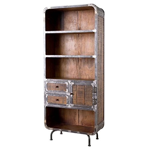 MÖBEL IDEAL Bücherregal Saigon Regal aus Mangoholz und Metall Standregal im Antiklook 80 x 190 cm