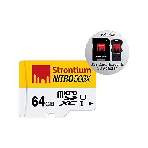 Strontium SRN64GTFU1C Nitro 566X 64GB microSDXC UHS-1 Memory Card mit Adapter und Reader