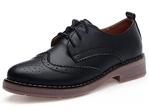22d76f72ae6 WUIWUIYU Women s Girls  Students  Lace-up Fashion British Style Oxford  Brogue Shoes Size