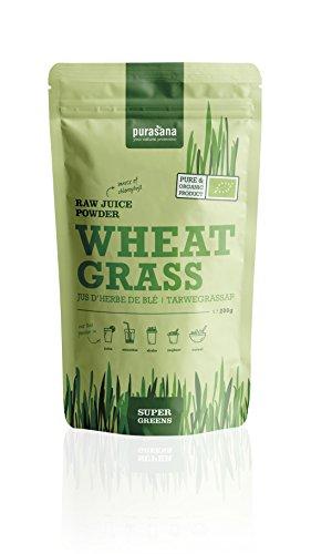 Purasana Bio Weizengras Saftpulver 200g, vegan zertifizierte Spitzenqualität ohne Zusatzstoffe - Entschlacken, entgiften, abnehmen oder als Basenpulver, 100% löslich (Pulver Saft)