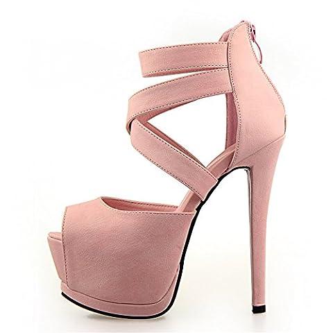 Damen Riemchensandaletten Pumps Stiletto Block Absatz Sommer Party Schuhe Klub Abiball Hochzeit Brautschuhe High Heels Sandaletten,Rosa38