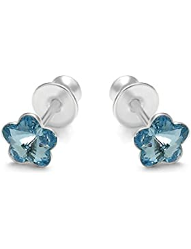butterfly Mädchen Silber Ohrstecker Silber hell-blau Swarovski Elements original Blume Schmuck-Beutel, Geschenkideen...