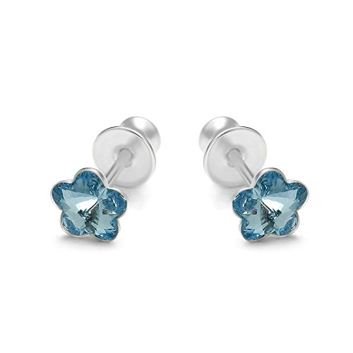 Butterfly bambine ragazze argento orecchini a perno vero azzurro swarovski elements originali fiore sacchetto per gioielli regalo
