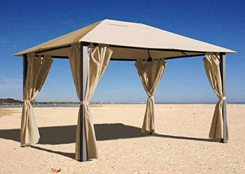 Quick-Star Metall Garten Pavillon Paris 3x4m Antik Sand Partyzelt