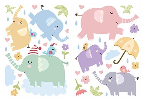 dekodino® Pegatina de pared elefantes pastel abigarrado set cuarto del bebé