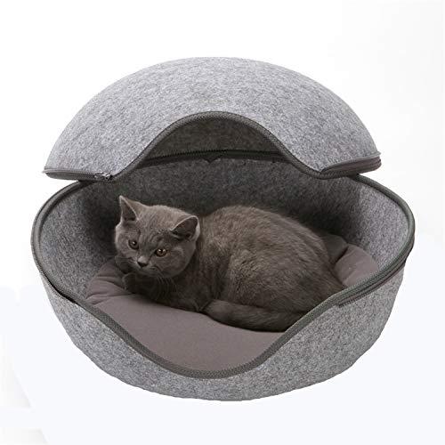 XQSWEU Hundehaus für Drinnen Katzenest, hundebett grau Katzenhöhle in Uni-Grau - Das Katzenbett mit Stil Hundekörbchen Haustier Schlafsack Waschbar