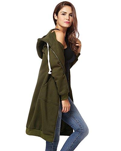 Romacci Damen Kapuzenpullover Lange Kapuzenpullis Beiläufiger Taschen Hoodie Pullover, Größe XXL, Farbe Grün - 2