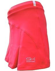 Sportkind Jupe plissée avec culotte intégré (jupe-short) de tennis / hockey sur gazon pour fille et femme en pêche tailles 4 ans à XXL