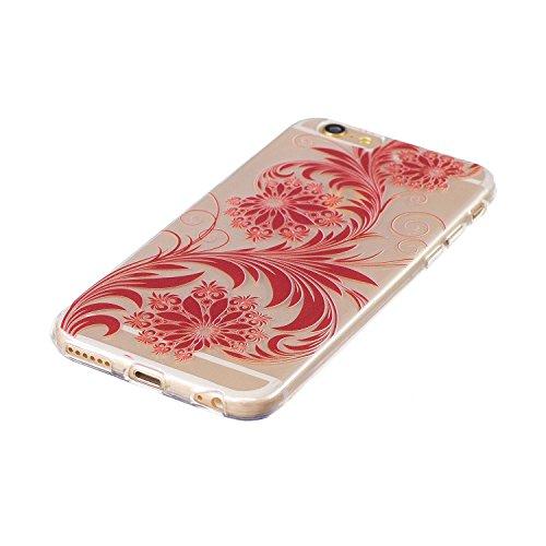 Cover iPhone 6S, Voguecase Custodia Silicone Morbido Flessibile TPU Custodia Case Cover Protettivo Skin Caso Per Apple iPhone 6/6S 4.7(Rainbow Unicorn-Blu) Con Stilo Penna Fiori ed erba/Rosso