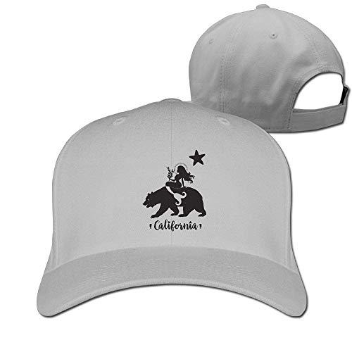 sdfgsdhffer Classic Cotton Hat Adjustable Plain Cap, The Mermaid Sat On The Bear Plain Baseball Cap Adjustable Size Curved Visor Hat (Sat-wetter)