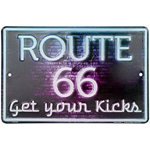 Route 66 Neon Style targa placca metallo piatto Nuovo 30x20cm VS246-1