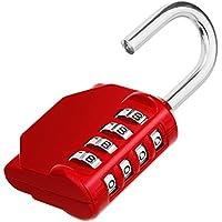 Combination Padlock, 4 Digit Combination Locker Padlock, Re-settable Combo Lock for School and Gym Lockers, Weatherproof Padlock Outdoor for Backyard Fence Gate, Sheds, Garage etc(Red)