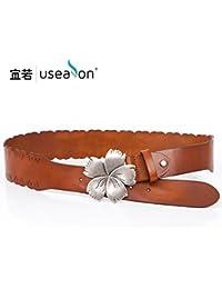 ZHANGYONG couche Dessin et Mme flowers ceinture large en cuir ceinture en cuir  rétro dans le bas de la robe femmes ceinture large et la couleur de… d7a780f7bb0