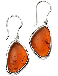 Elements Silver Abstract Shape Amber Earrings