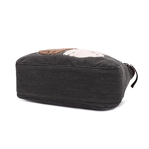 KAUKKO Donne Canvas Handbag Shopping bag Nero