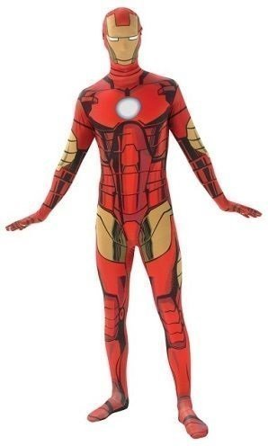 Herren Superheld 2nd Skin Robin Batman Spiderman Superman Iron Man Captain America Power Ranger Ganzkörper Stretch Overall Halloween Kostüm Kleid Outfit - Iron Man, Medium (5'4 and (Iron Kostüme Man Halloween)