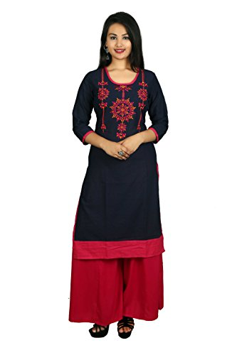 Prateek Exports Women's Embroidered Cotton Long Straight Blue Kurti Kurta