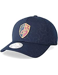 f70288ba4ecce Mitchell   Ness Cleveland Cavaliers Debossed Stretch Current 110 Navy  Adjustable