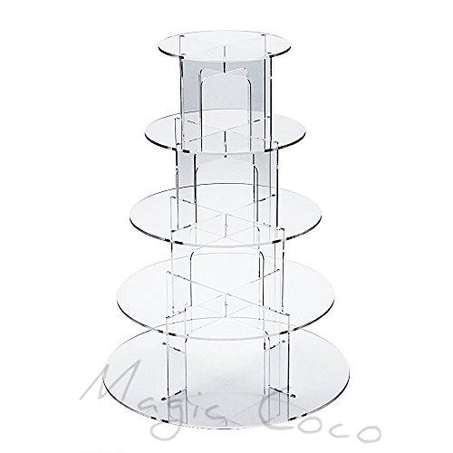 display4top Cupcake soporte pantalla de acrílico para boda fiesta de cumpleaños, acrílico, 5 Tire U-type cupcake stand