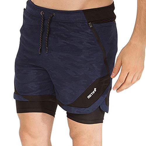 Herren Shorts Kurze Hose Schnell Trocknend Atmungsaktive Sporthose Taschen Männer Running Fitness Sport mit Kordelzug Training Schnell Trocknend Ultraleichte WQIANGHZI -