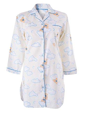 adonia mode Damen Flanell Nachthemd Sleepshirt Langarm Bärchen Blau/Creme Gr.36/38 (Baumwoll-flanell-nachthemd Damen)