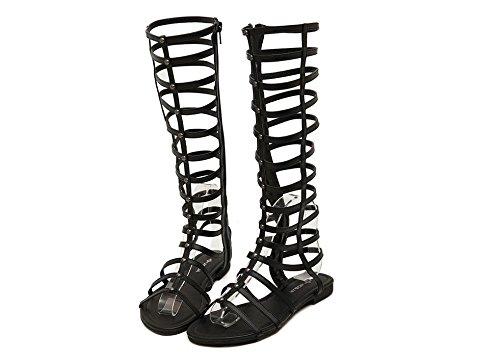 Chaussures à bout ouvert sexy aide haute fermeture à glissière bottes avec cool jambes sandales plates Black