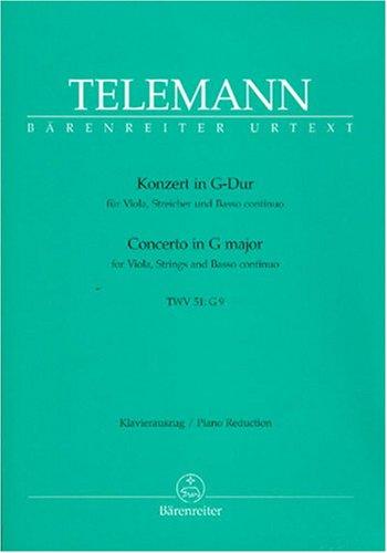 Konzert G-Dur für Viola, Streicher und Bc. Klavierauszug