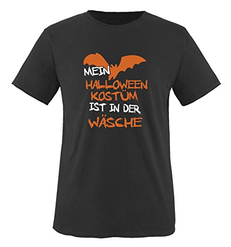 Comedy Shirts - MEIN HALLOWEEN KOSTÜM IST IN DER WÄSCHE VAMPIR - Herren T-Shirt Schwarz / Weiss-Orange Gr. (College Kostüme Vampir Halloween)