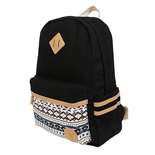 Imagen de backpack  escolares, marsoul mujer  escolar lona grande bolsa estilo étnico vendimia casual colegio bolso para chicas gypsy negro  alternativa