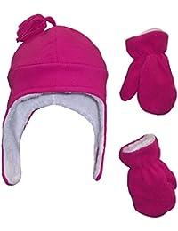 N 'ice Caps Niñas Suave Sherpa forrado Micro Fleece piloto sombrero y manopla Conjunto