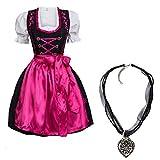 Dirndl Set 4 TLG. Trachtenkleid schwarz mit Pinker Stickerei Hakenverschluß + Dirndlkette 42