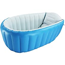 Blueidea® Piscina Del Bebé Verano de Bañera Hinchable Anti-Resbaladiza Baño de Piscina Ducha Plegable Cuenca de Silla del Asiento (Azul)