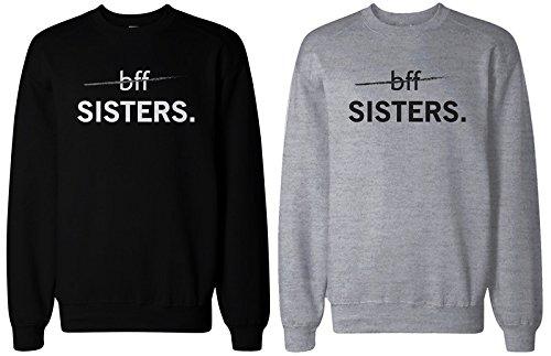 """2 sudaderas 365 Printing a juego para mejores amigas, en color negro y gris, con el texto en inglés """"BFF Sister"""" Gris gris Izquierda-XXL/Derecho-S"""