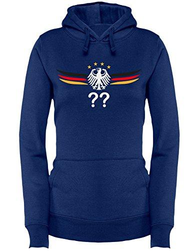 Deutschland Adler mit Flügeln Wunschnummer und Wunschname - Damen Hoodie Navy/W-Schwarz-Rot-Gelb