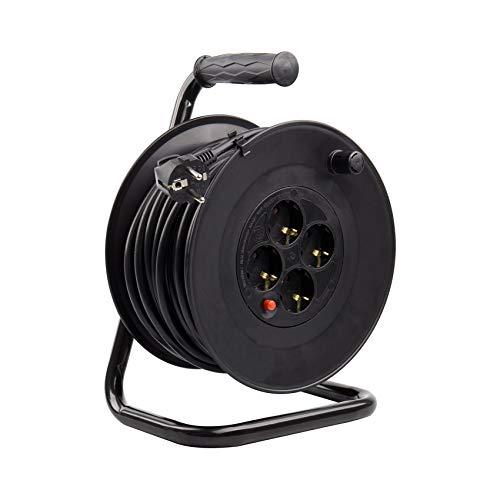 Carrete Alargador de Cable 25m Liso Negro efectoLED
