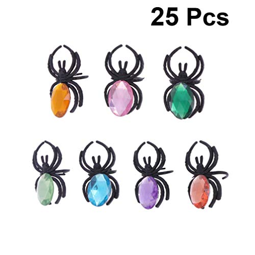 STOBOK 25 stücke Halloween Kunststoff spinnenring Kunststoff Diamant fingerring Spielzeug Kinder Halloween Party Ring gastgeschenke / farblich Sortiert (Halloween Party Spielzeug)
