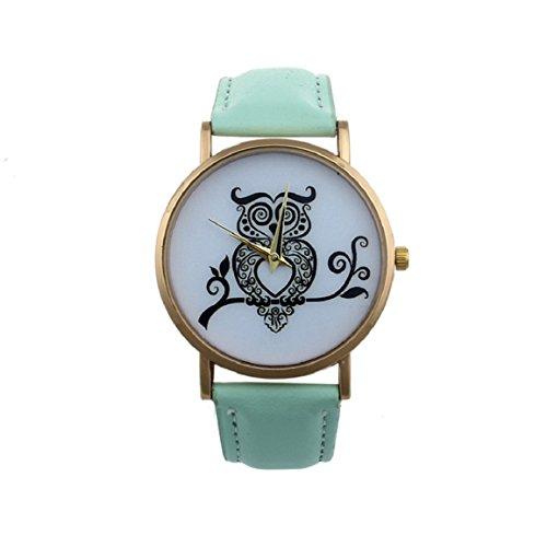 Culater® Reloj De Pulsera De Cuarzo AnalóGico Mujeres De MarcacióN BúHo Retro (Verde)