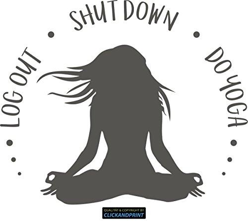 CLICKANDPRINT Aufkleber » Log Out - Shut down - Do Yoga, 20x16,5cm, Aluminium Metallic • Dekoaufkleber/Autoaufkleber/Sticker/Decal/Vinyl