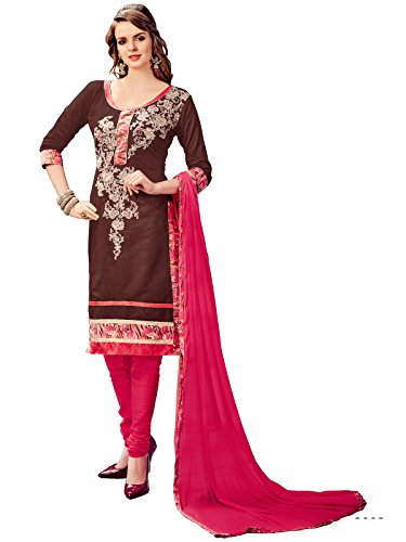 Nikki Fab Brown Cotton Embroidered Unstitched Partywear Dress Material.
