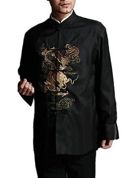 Tradizionale Giacca Dragone Cinese Soprabito Kung Fu Arti Marziali in Seta 104