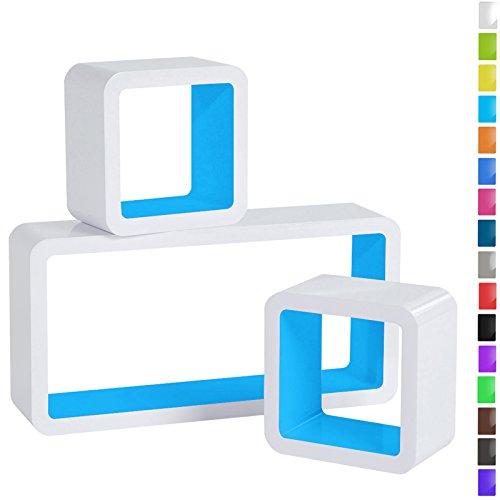 WOLTU RG9229bl Wandregal Cube Regal 3er Set Bücherregal Regalsysteme, Retro Hängeregal Würfel, - 3 Würfel