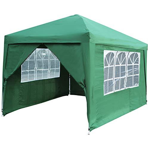 gazebo pieghevole giardino con teli laterali e finestra 3x3 automatico fiera (verde)