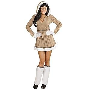 WIDMANN Disfraz para Adultos 05551 de Chica Esquimal, Vestido con Capucha, Calentadores de piernas y Guantes