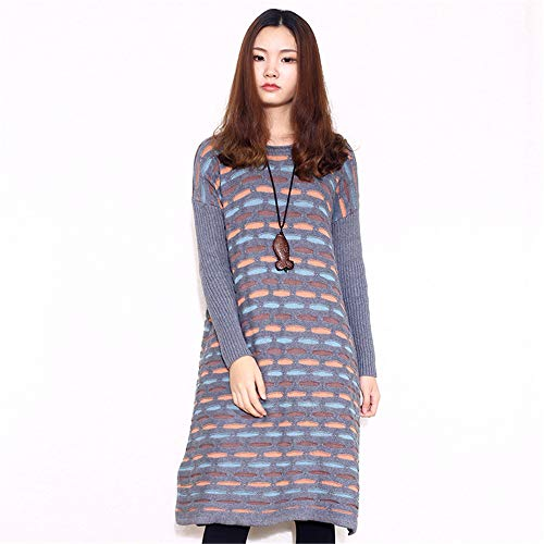 Wuxingqing Vintage Swing Partykleid für Damen Frauen Strickpullover Plus Size Sleeve Crewneck Solide Tägliches Kleid Termin Einkaufen Damen Abendkleid (Farbe : ()