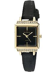 Peugeot - Reloj de pulsera para mujer con esfera cuadrada de oro y correa de ante