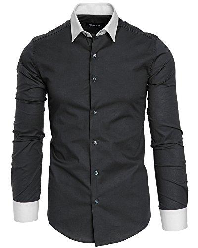 Amaci&Sons Herren Slim Fit Hemd Bügelleicht Business Freizeit Shirt 50004 Anthrazit XL