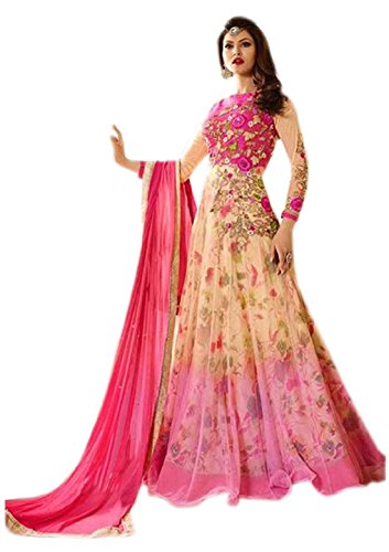 Active Feel Free Life Women's Net Salwar Suit (Ssue2277-Oll13,Pink,Free Size, Semi-Stitched)