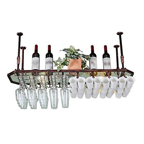 Yuany Flasche Weinregal, Wand Deckenhalter Achteckige Weinregal Becher Weinglas Rack Upside Down Becher hängen (Farbe: Bronze, Größe: 80 * 35 cm)